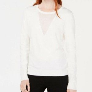 Bar III Contrast-Neck Sweater White Size Small